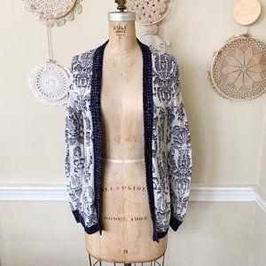 Cotton Emporium Navy Cream Knit Cardigan Sweater